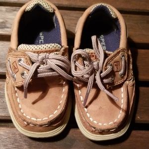 Sperry Top-Siders childs size 5, tan, like new